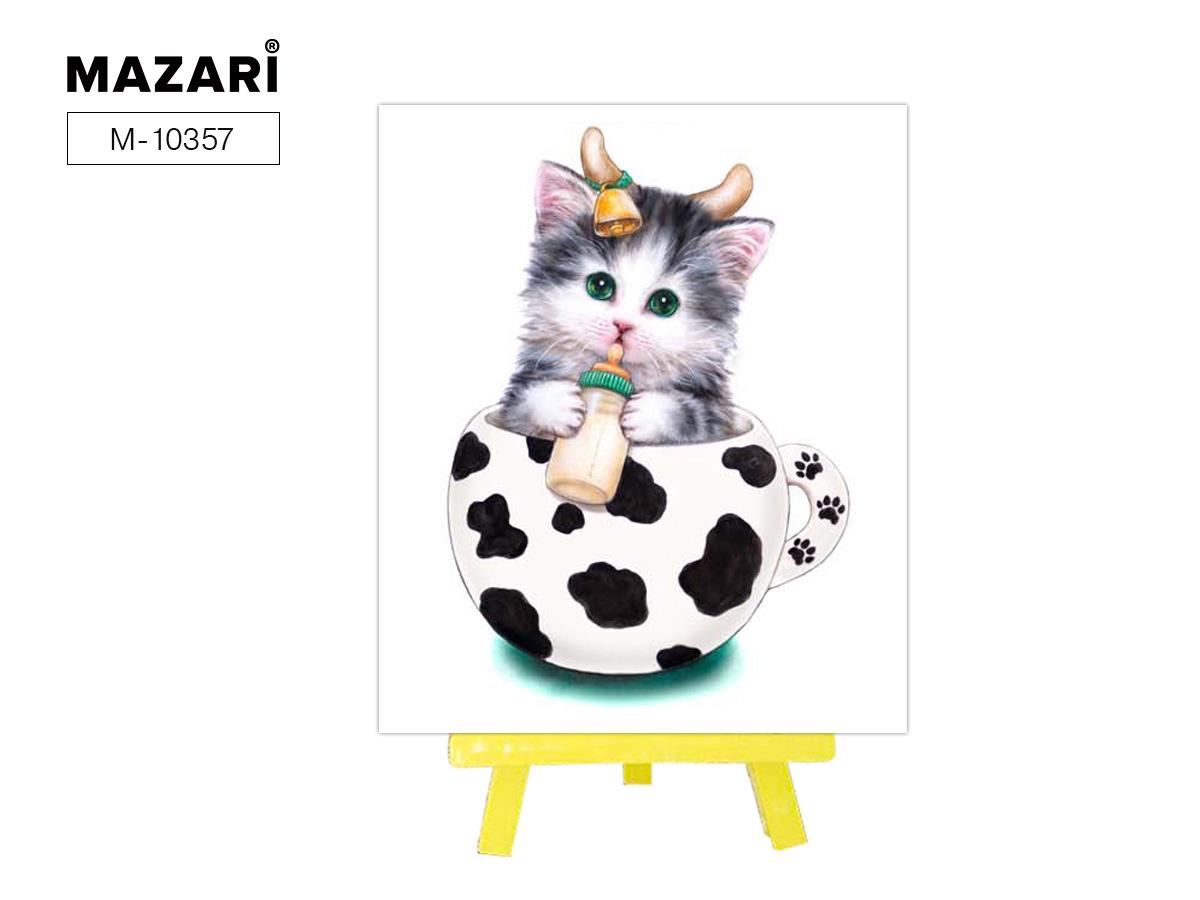 """Алмазная мозаика+мольберт 21*25см """"Кот-коровка"""" частичная выкладка"""
