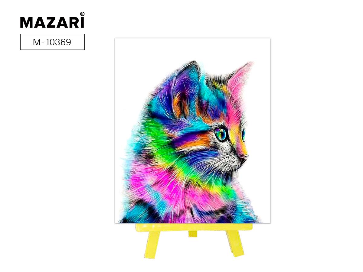 """Алмазная мозаика+мольберт 21*25см """"Радужный кот"""" частичная выкладка"""