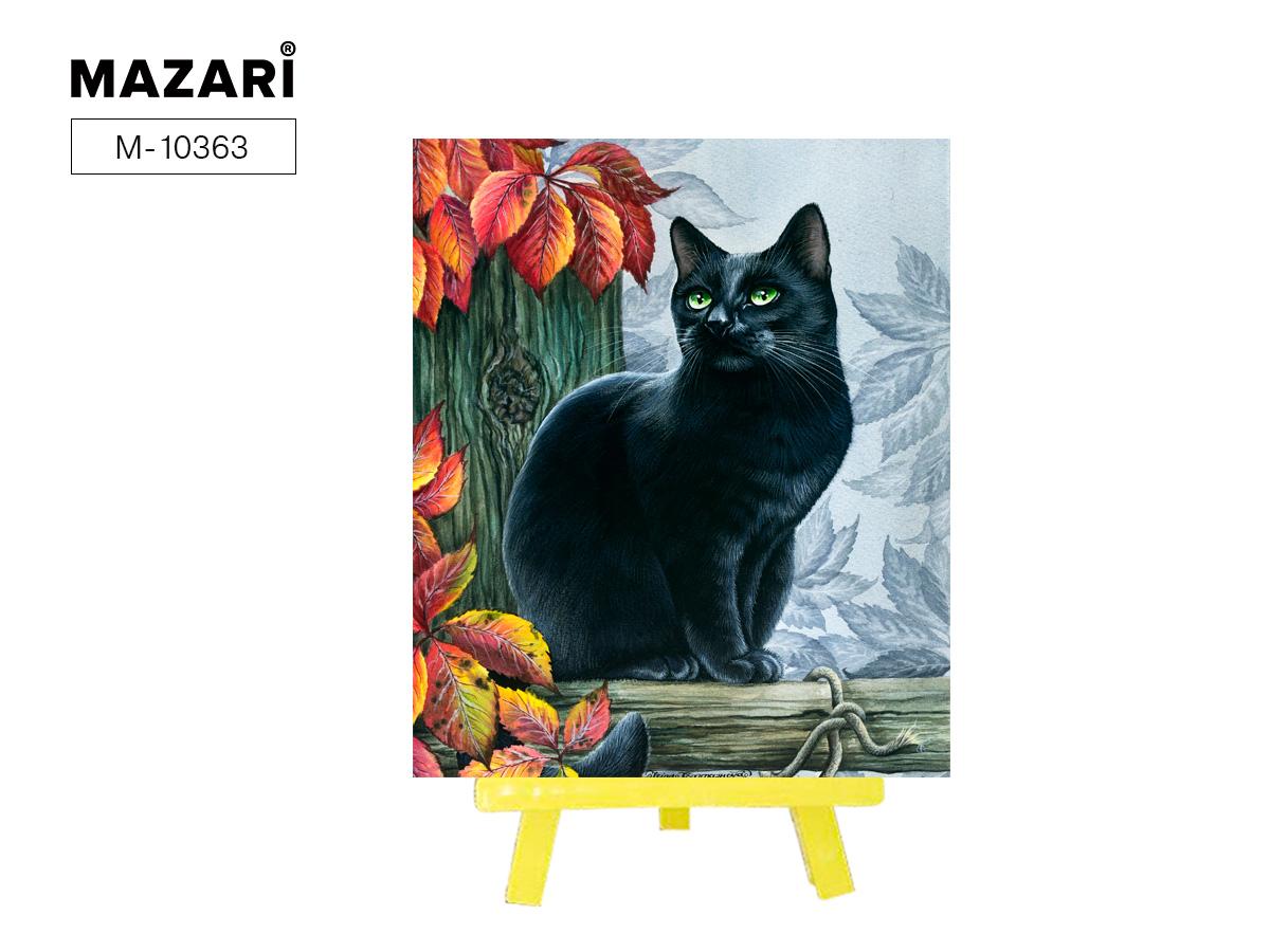 Алмазная мозаика частичная выкладка 21*25см Черный кот