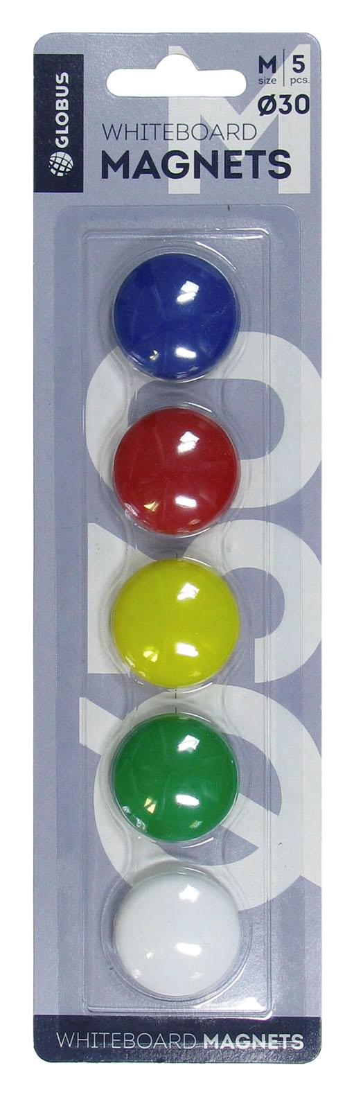 Магнит д/доски Глобус 30мм 5шт цветные блистер