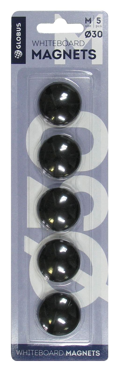 Магнит д/доски Глобус 30мм 5шт черные блистер