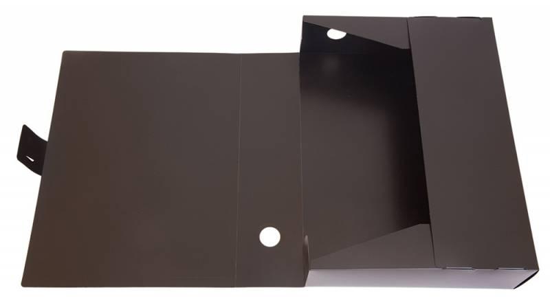 Короб архивный пластик  80мм Бюрократ черный вырубная застеж