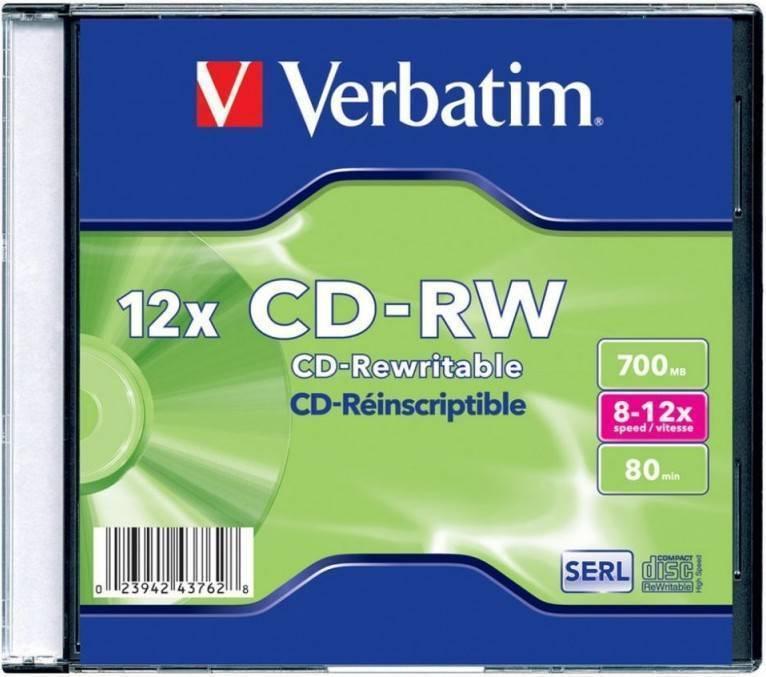 Диск CD-RW Verbatim 12x (Slim)