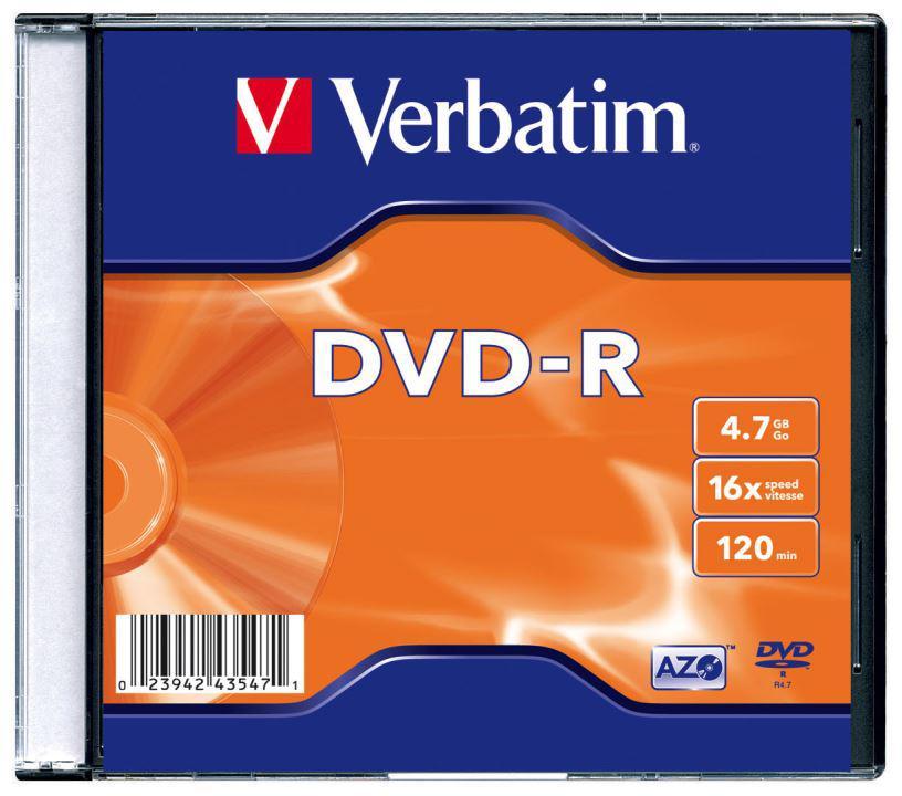 Диск DVD-R Verbatim 16x (Slim)