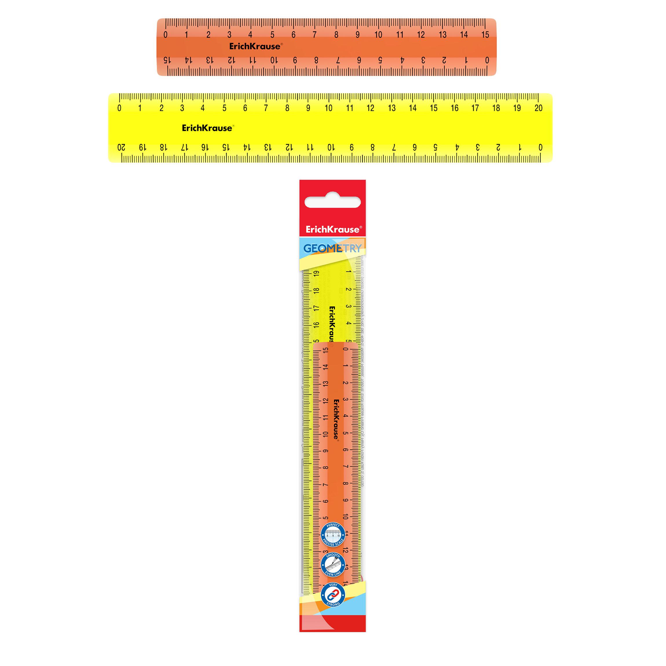 Линейки набор ErichKrause  Neon 15см оранжевый и 20см желтый