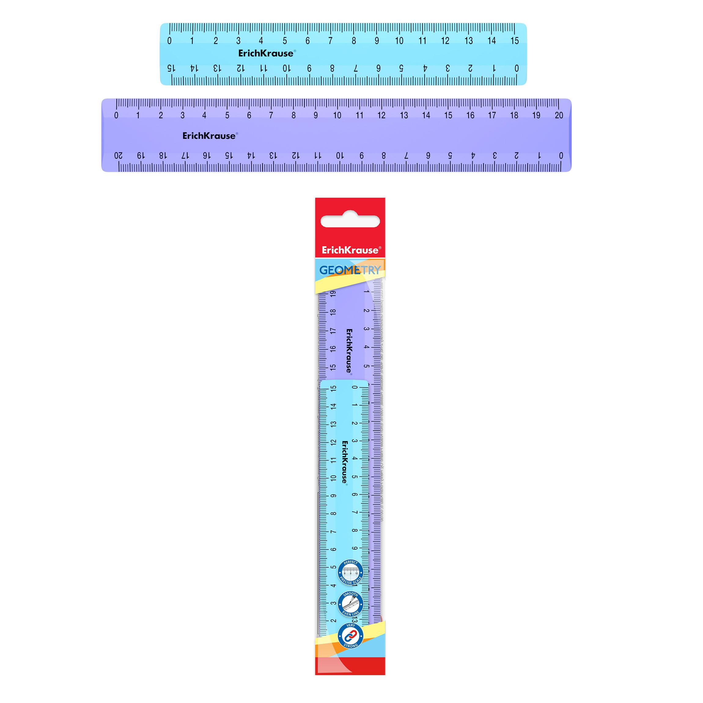 Линейки набор ErichKrause 15см голубой и 20см фиолетовый