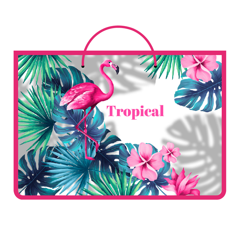 """Папка ручки-шнурок А4 Пчелка пластик """"Tropical flamingo"""""""