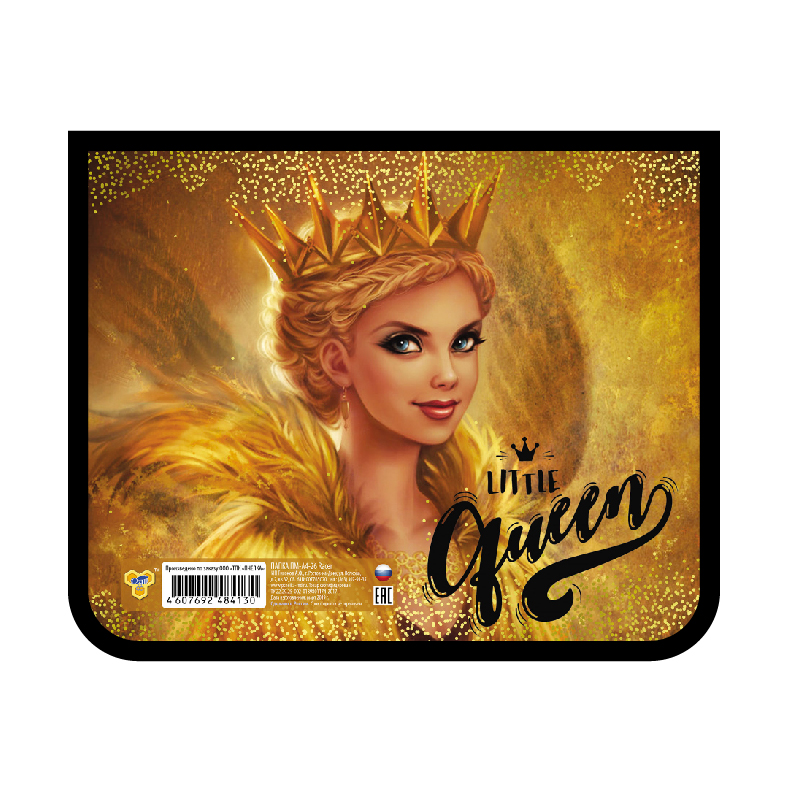 "Папка д/тетр. А5 Пчелка на молнии фольг.картон ""Gold queen"""
