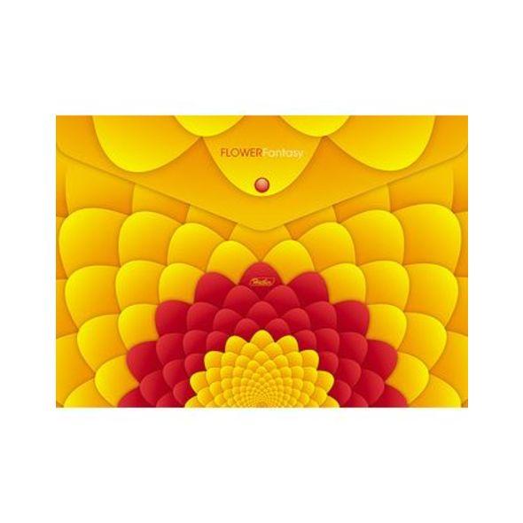 Папка конверт на кнопке Хатбер А4 0,18мм Flower Fantasy