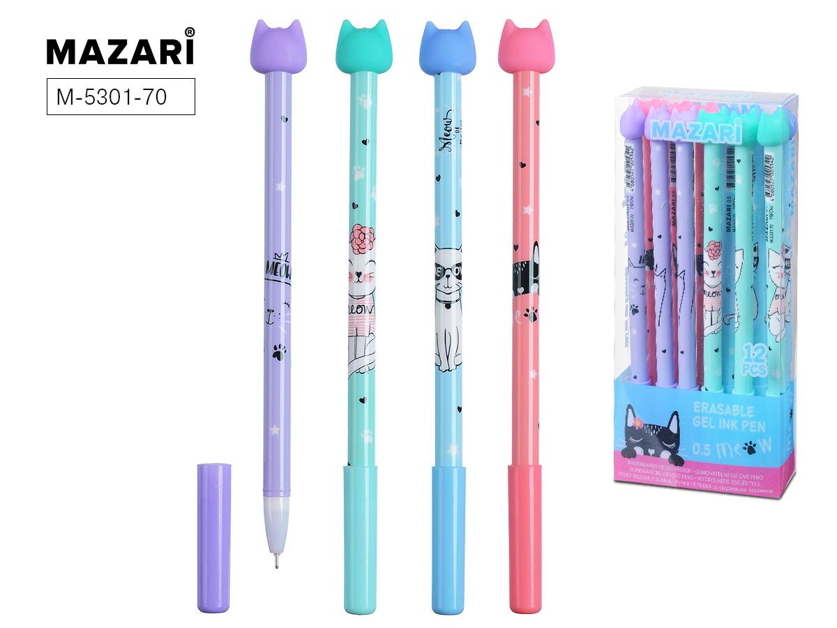 Ручка коррект. гел. Mazari Miao 0,5мм игол.нак. синяя
