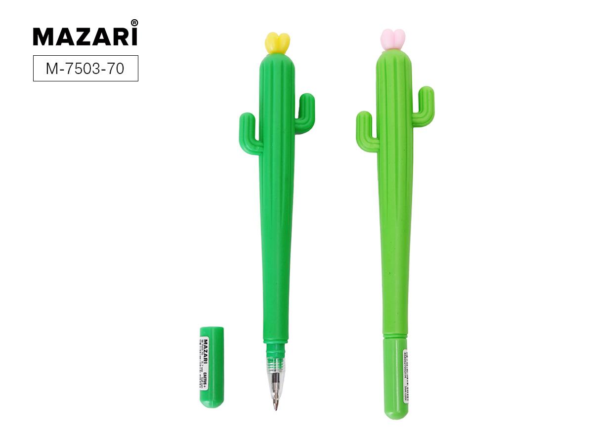 Ручка Mazari Cactus 0,7мм цветной корпус синяя