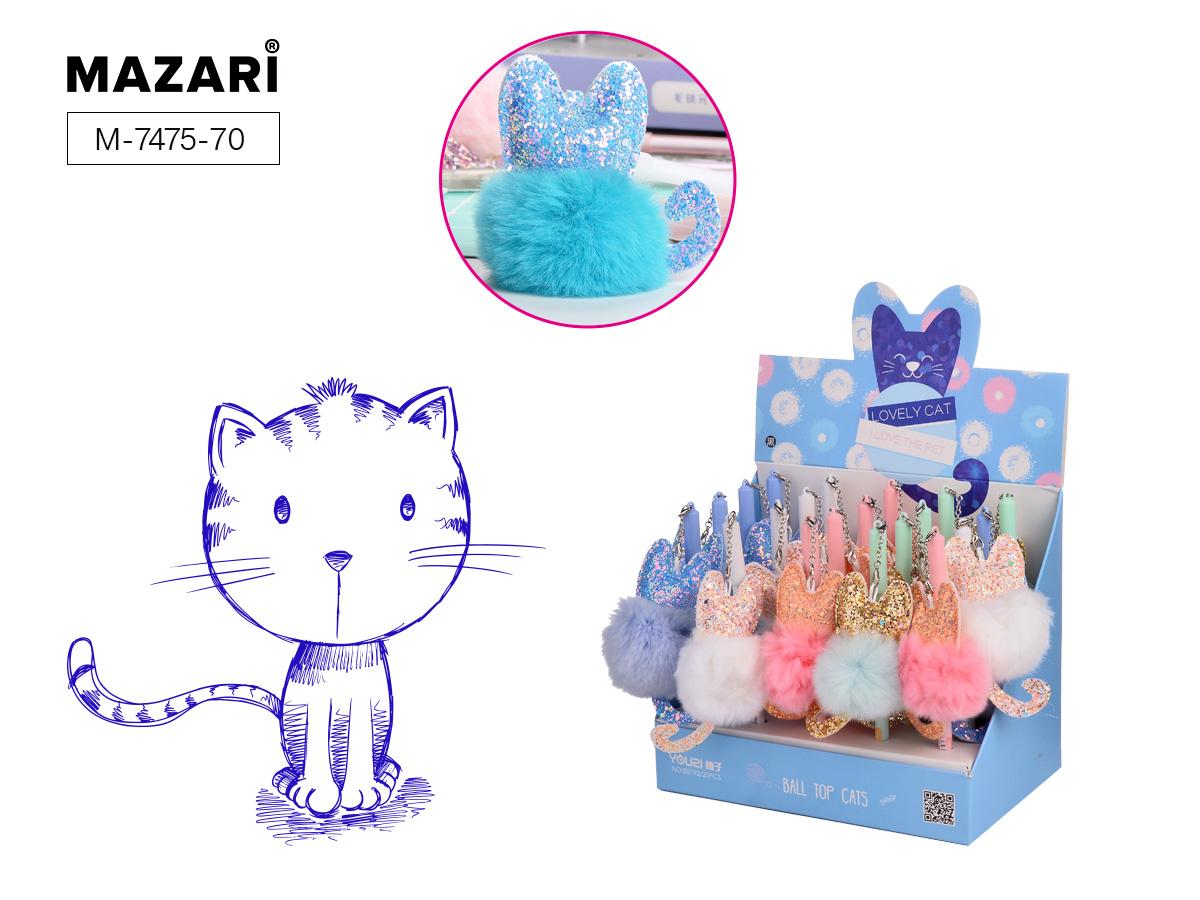 Ручка Mazari Lovely cat 0,7 игол.нак. цветной корпус синяя
