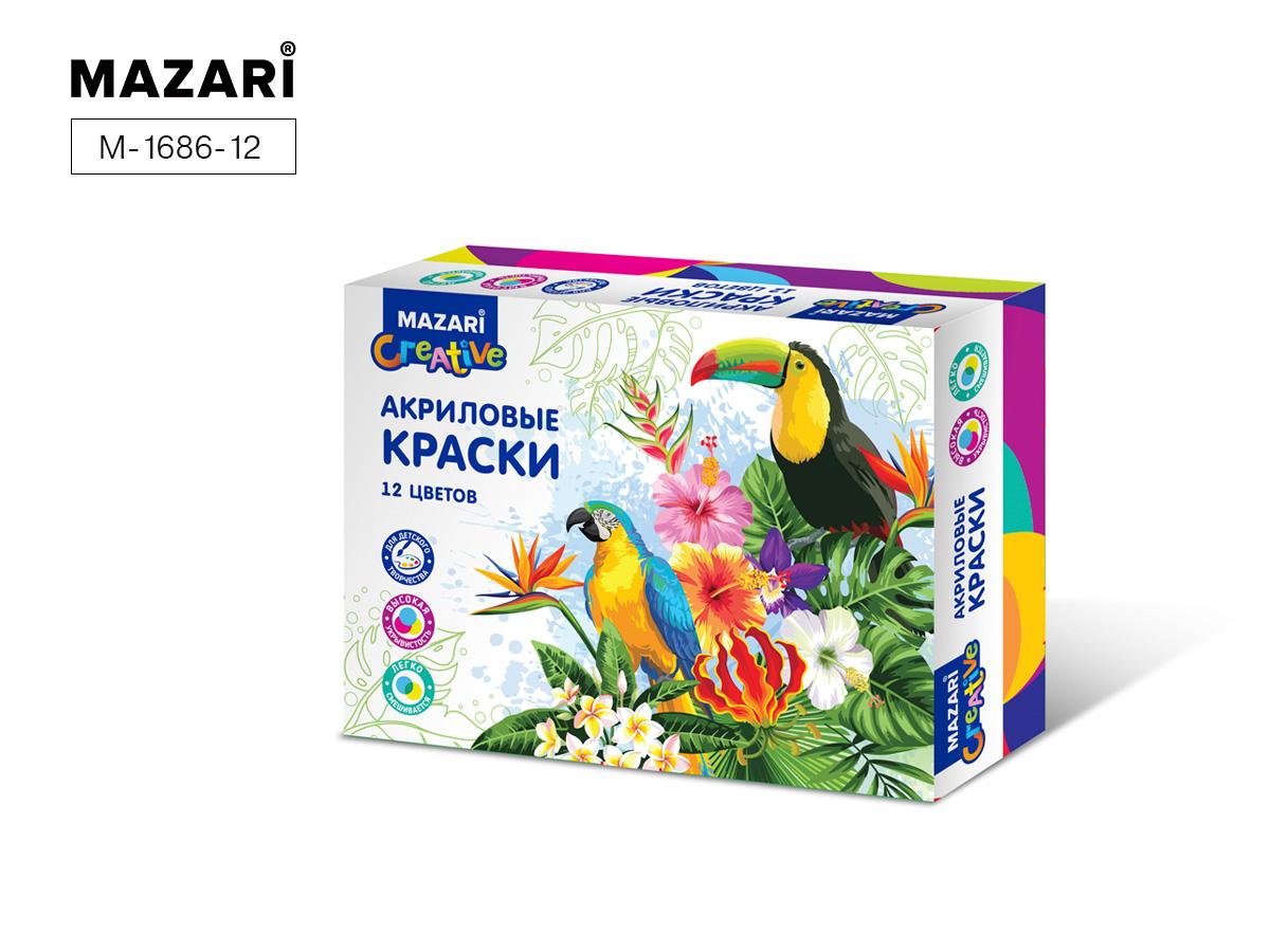 Краски акриловые 12цв. 20мл Mazari