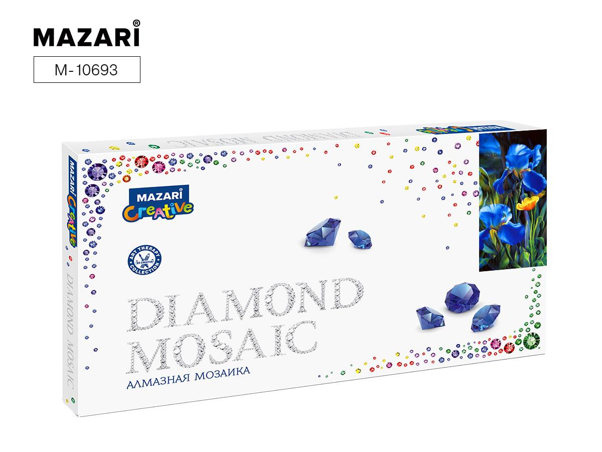 Алмазная мозаика 22*40см Ирисы и мак частичная выкладка