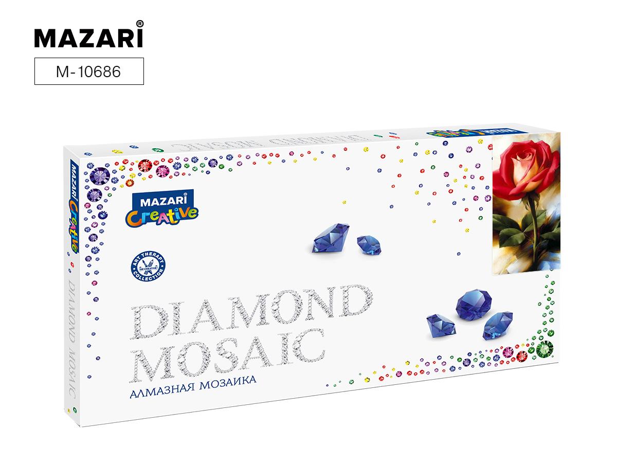 Алмазная мозаика 22*40см Красная роза частичная выкладка