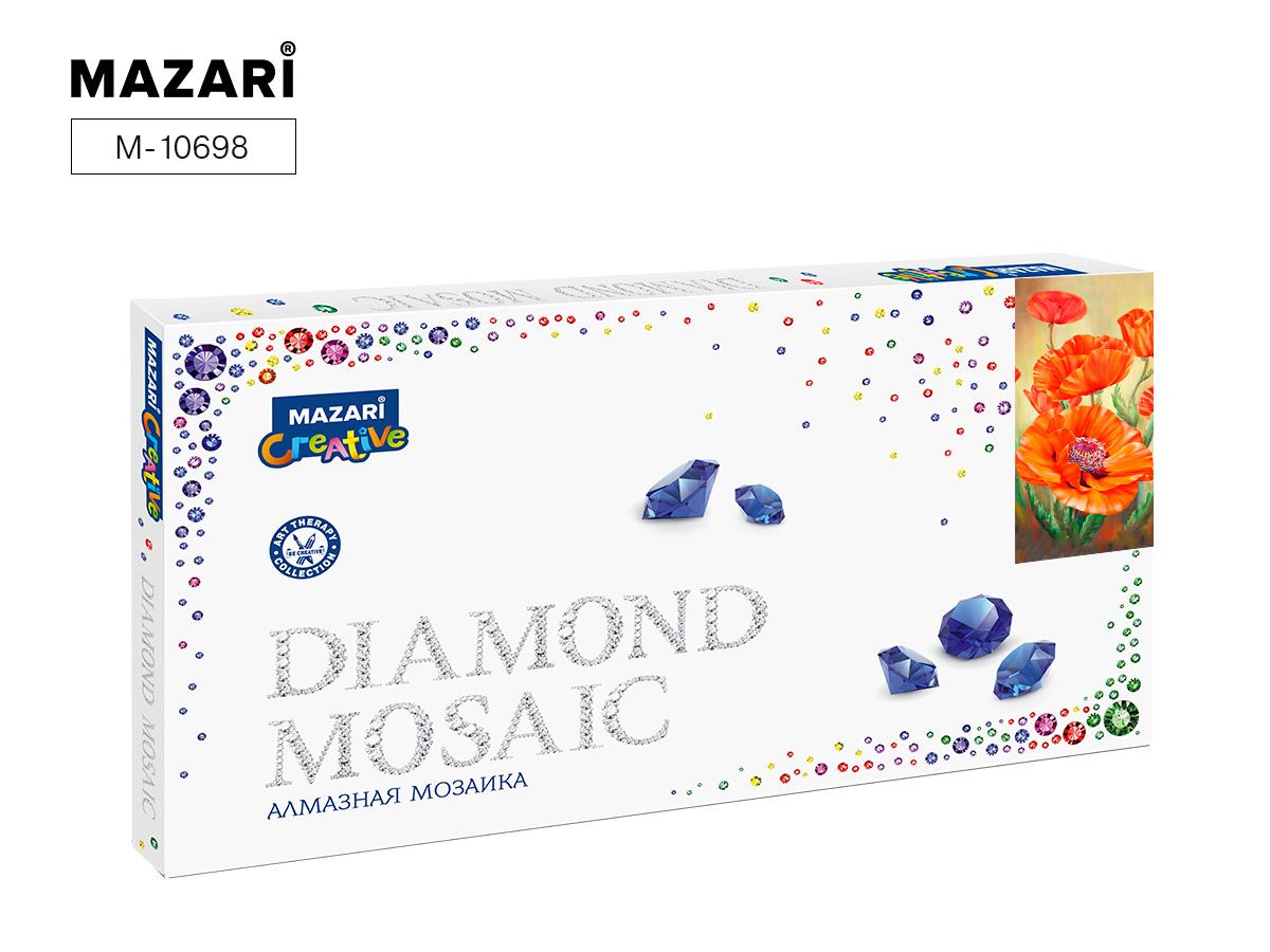 Алмазная мозаика 22*40см Красные маки частичная выкладка