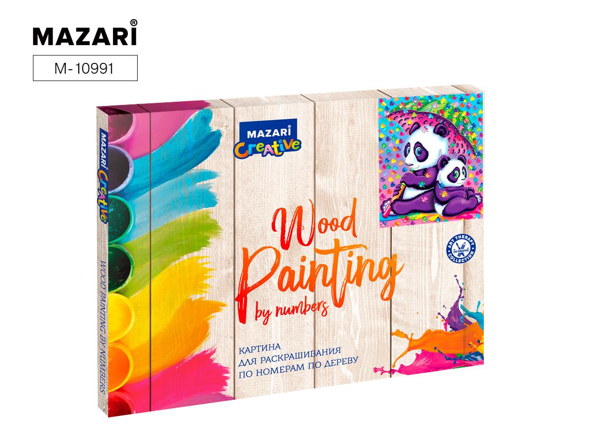 """Картина по номерам (дерево) 30*40 """"Панды под зонтом"""" с акр. красками"""