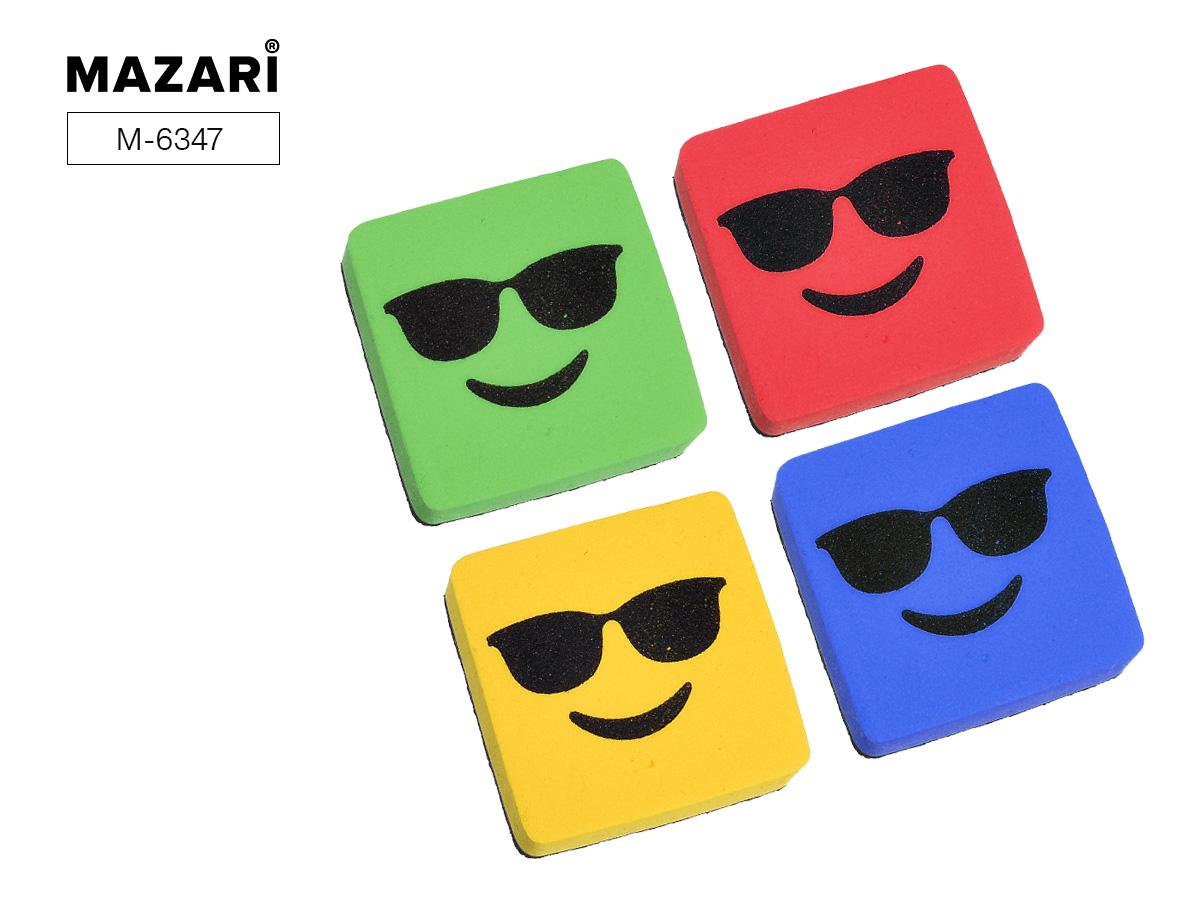 Стиратель для доски Mazari 5*5*2см магнитный Smile 2цв.