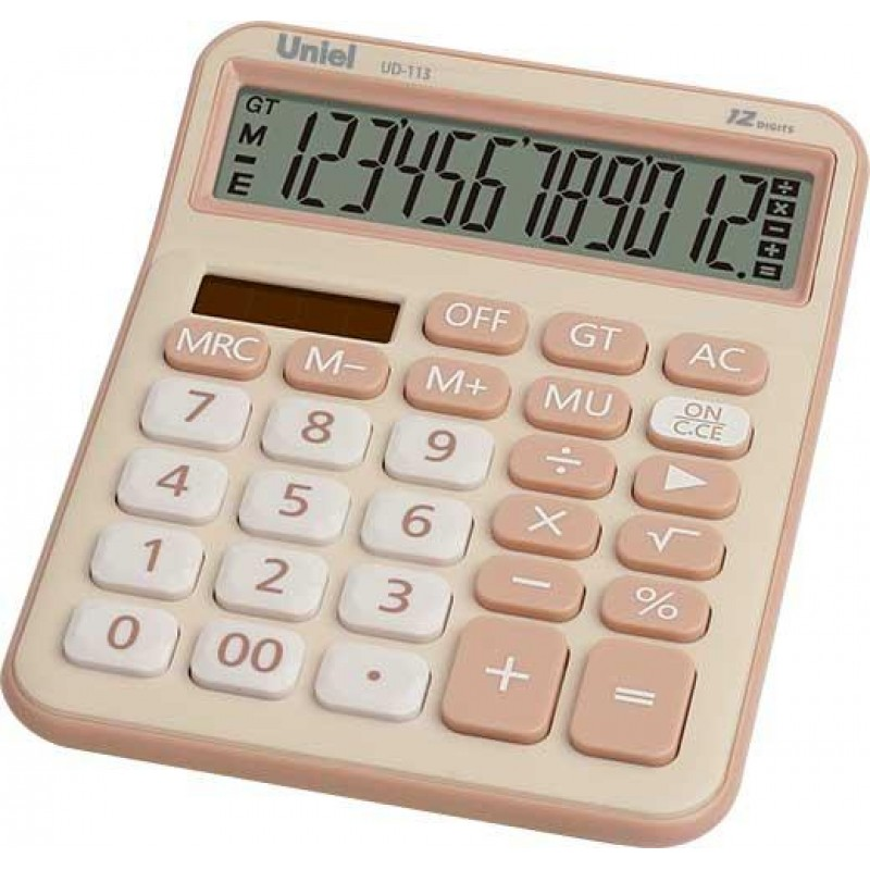 Калькулятор наст. Uniel UD-113BG 12-разр. 161*125мм бежевый