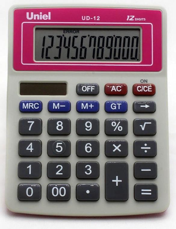 Калькулятор наст. Uniel UD-12R 12-разр. 126*95мм красный
