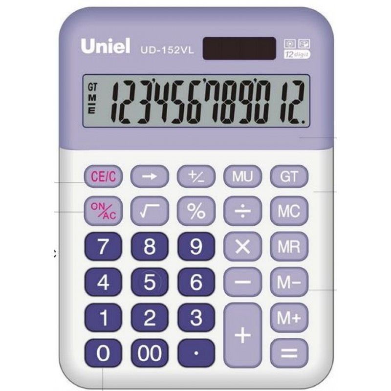 Калькулятор наст. Uniel UD-152VL 12-разр. 147*100мм сиреневый