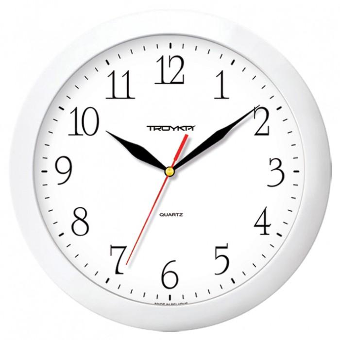 Часы настен. Troyka круглые белая рамка 29см