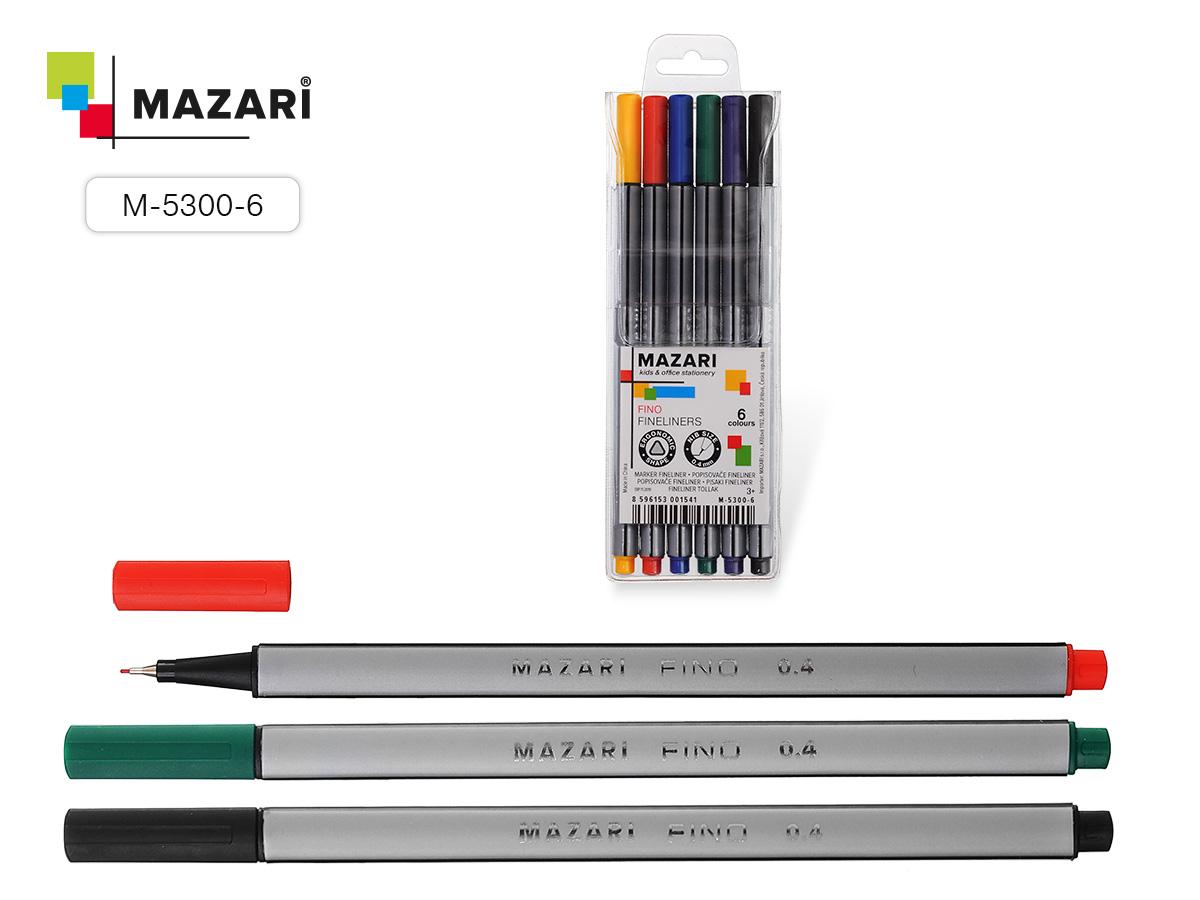 Линеры Mazari FINO  6цв. 0.4мм трехгранный корп.