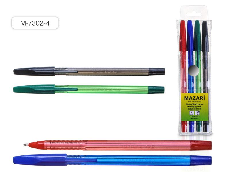 Ручки шар. в наборе Mazari Stylus  4цв 0,7
