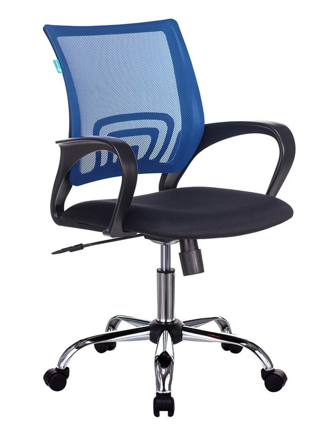 Кресло Бюрократ CH-695N/SL/BL/TW-11 спинка сетка синий TW-05 сиденье черный TW-11 крестовина хром