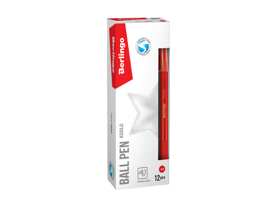 Ручка Berlingo xGold  0,7мм игол.нак. красная