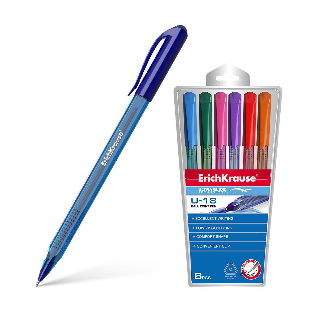 Ручки шар. в наборе ErichKrause 6цв. U-18 трехгр. масл.