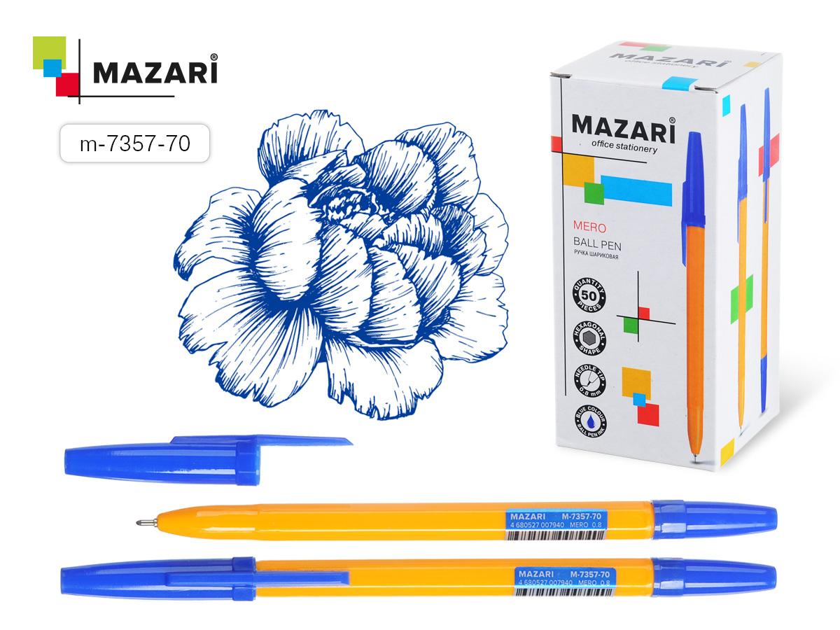 Ручка Mazari Mero игол.нак. 0,8 син., желтый корпус