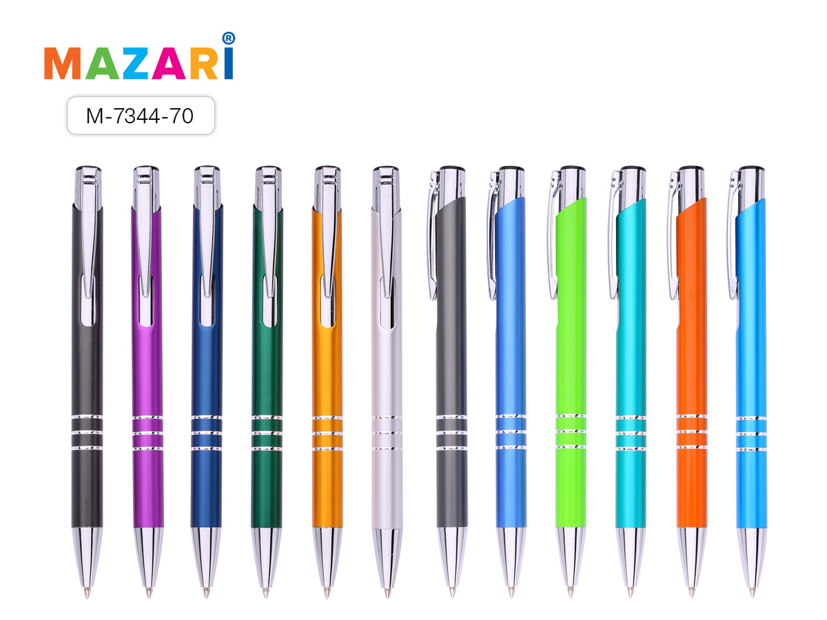 Ручка Mazari авт. Acro 1,0мм металл. корпус синяя