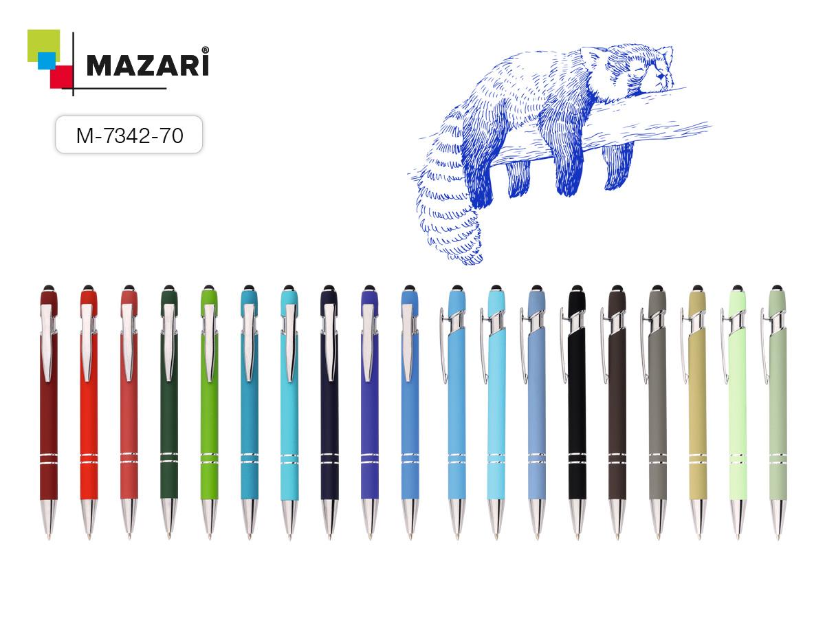 Ручка Mazari авт. Lorio 1.0мм ассорти, стилус для сенс.экр.