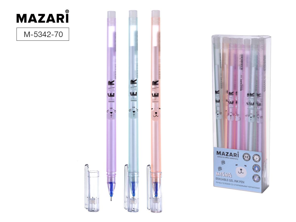 Ручка коррект. гел. Mazari Misha 0,5мм игол.нак. синяя
