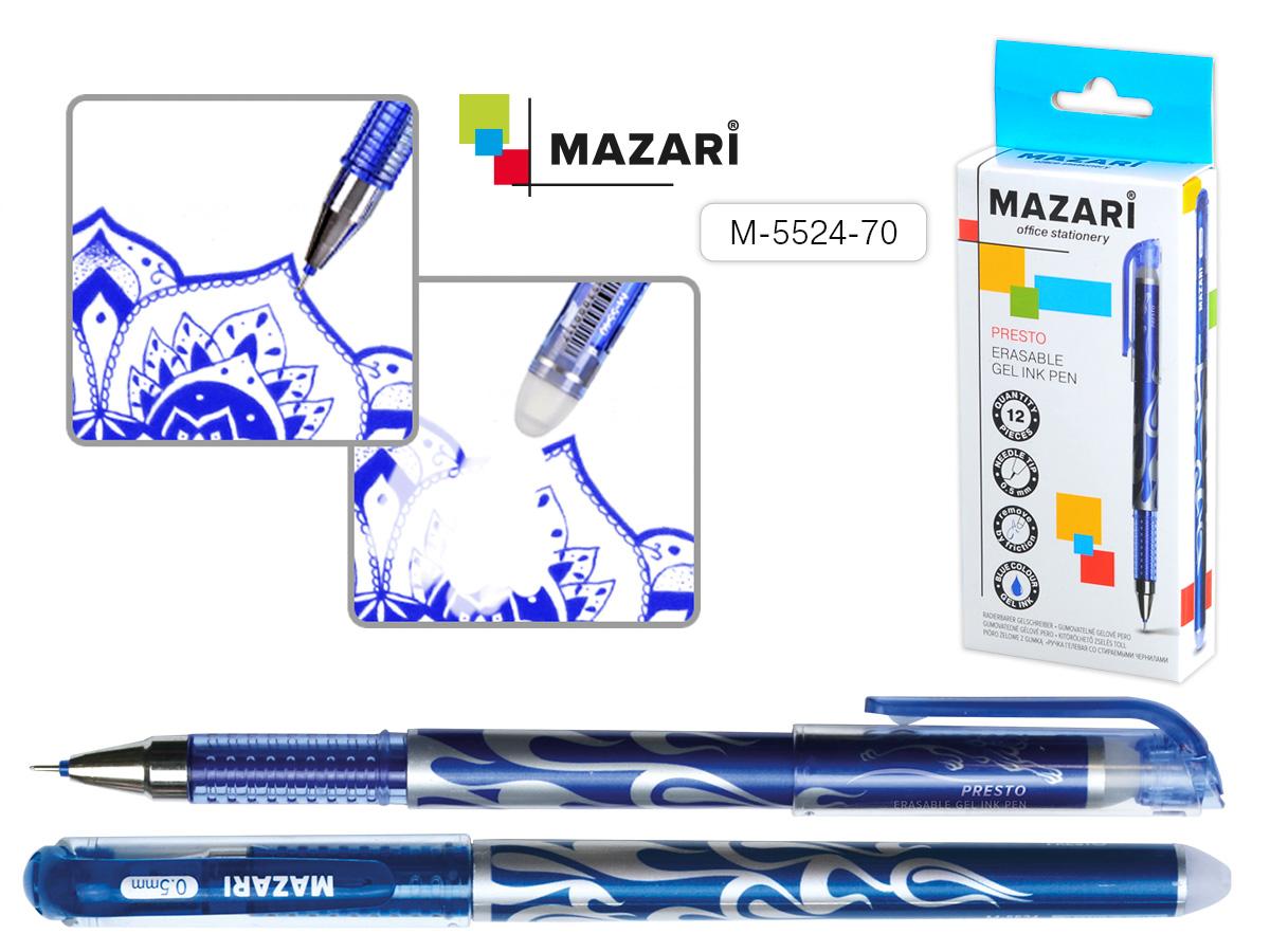 Ручка коррект. гел. Mazari Presto игол.нак. синяя