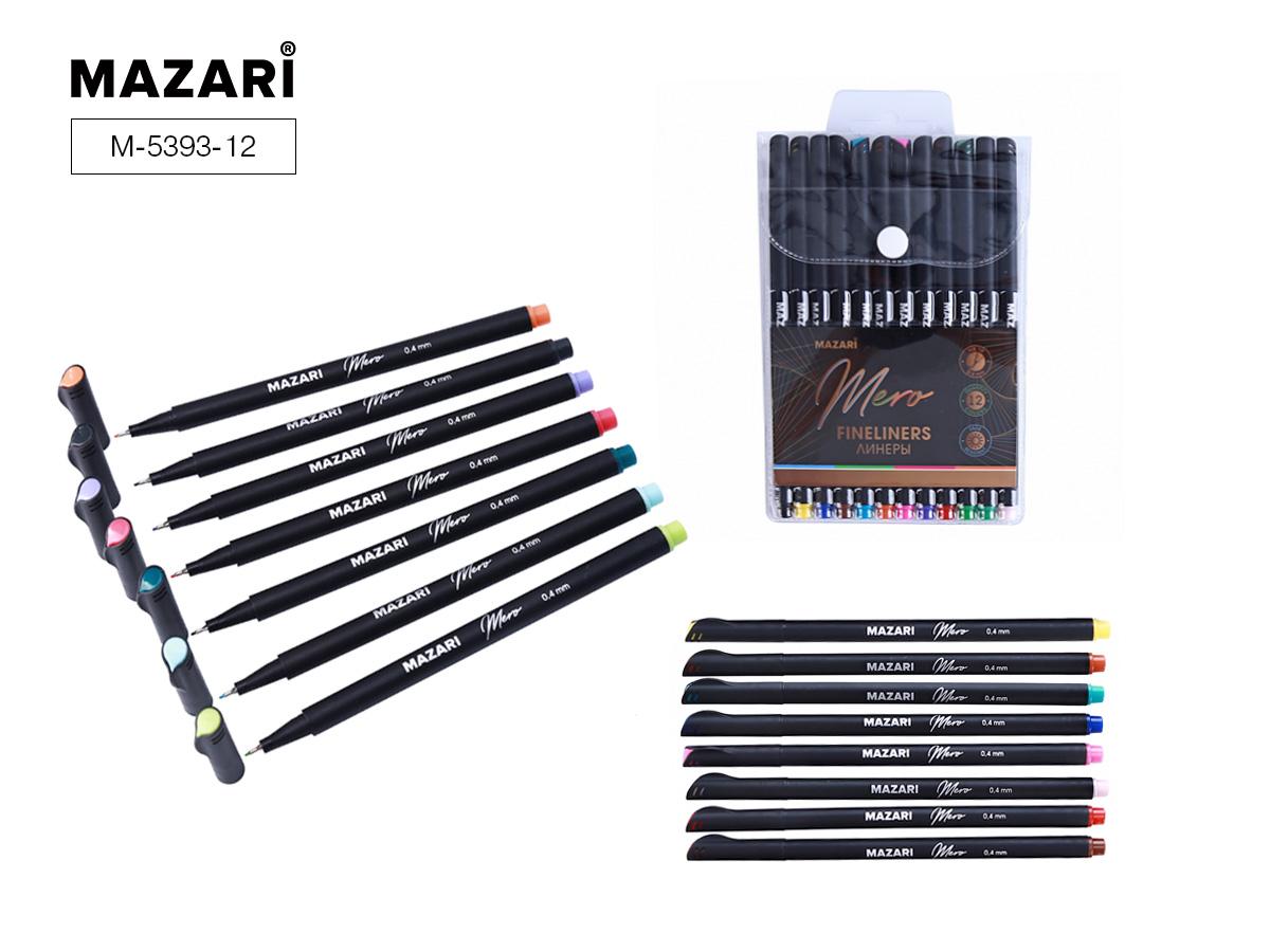 Линеры набор Mazari Mero  12цв. 0,4мм в пластиковой упак.