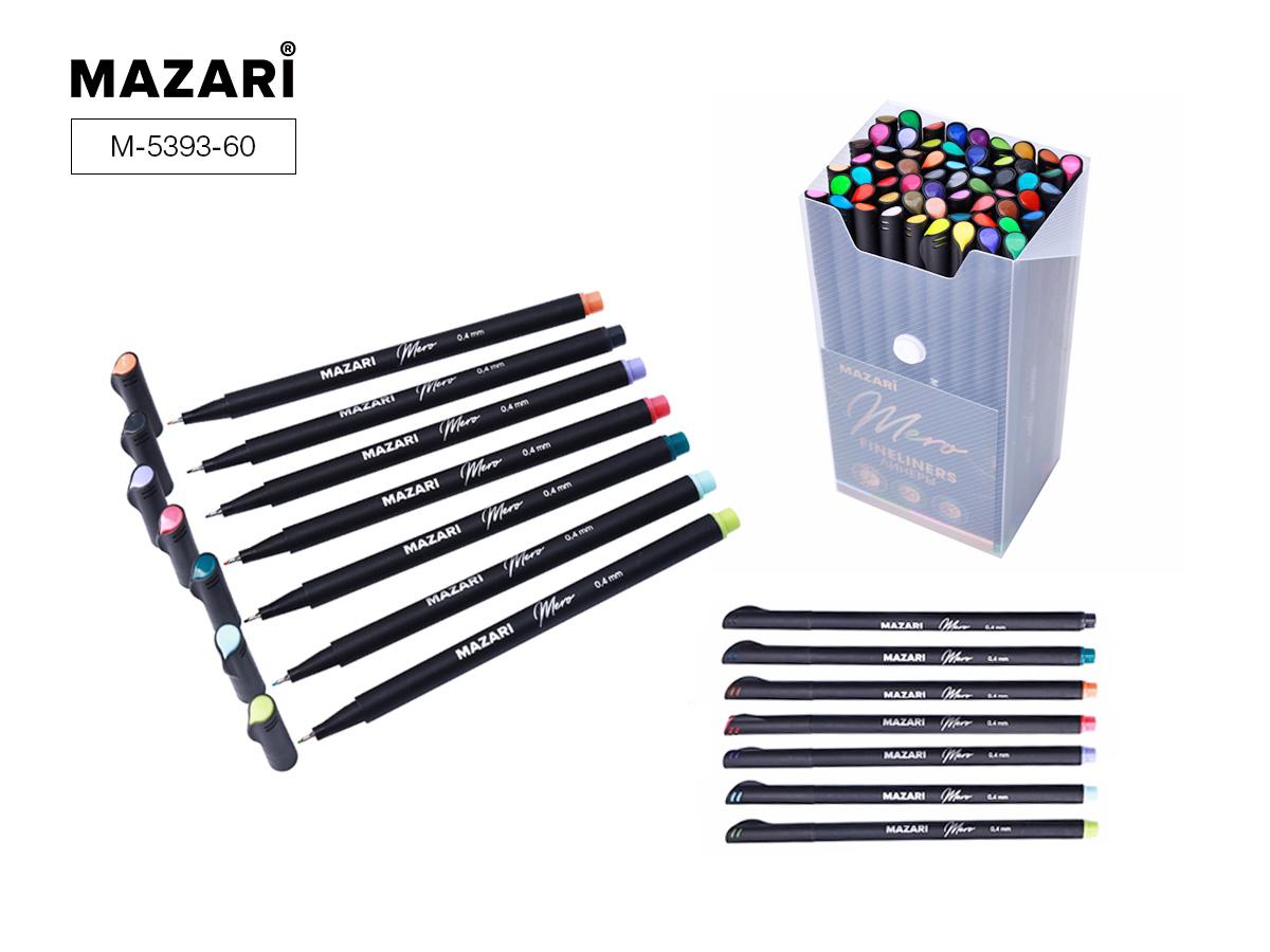 Линеры набор Mazari Mero  60цв. 0,4мм в пластиковом контейн