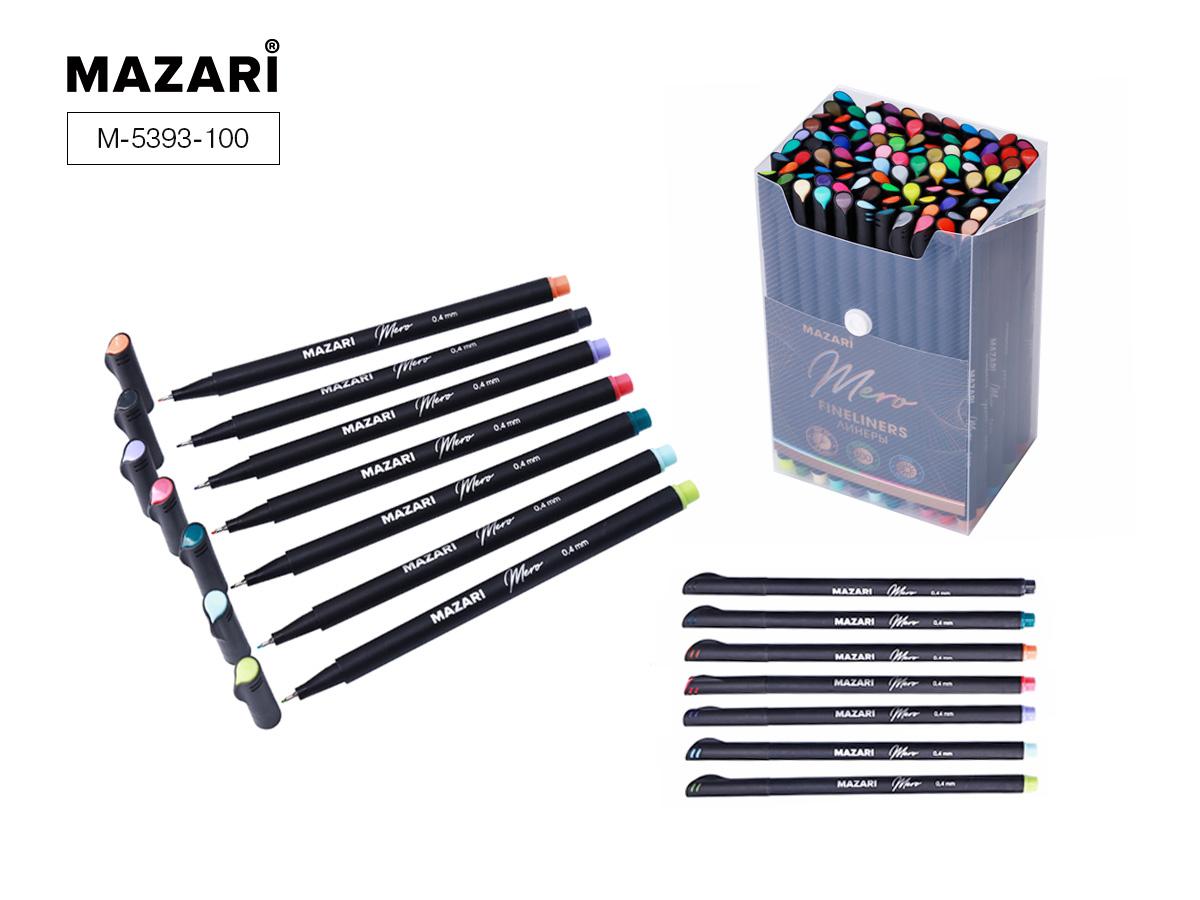 Линеры набор Mazari Mero 100цв. 0,4мм в пластиковом контейн
