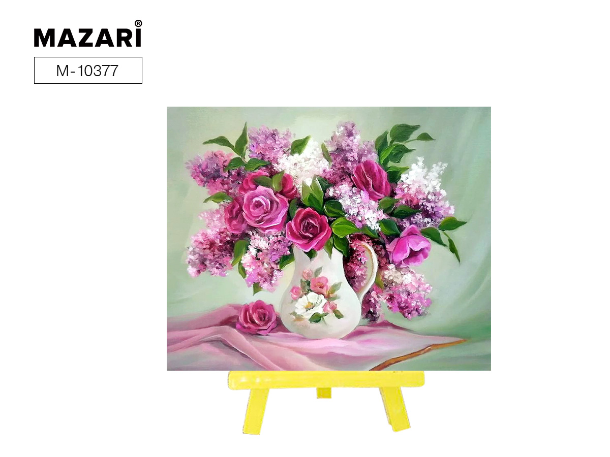 """Алмазная мозаика+мольберт 21*25см """"Нежно-розовый букет"""""""