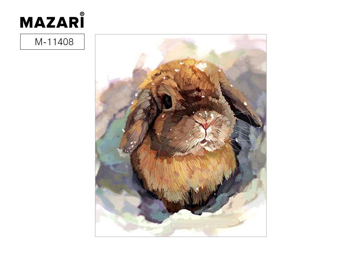 """Картина по номерам (дерево) 40*50 """"Кролики"""" с акр. красками"""