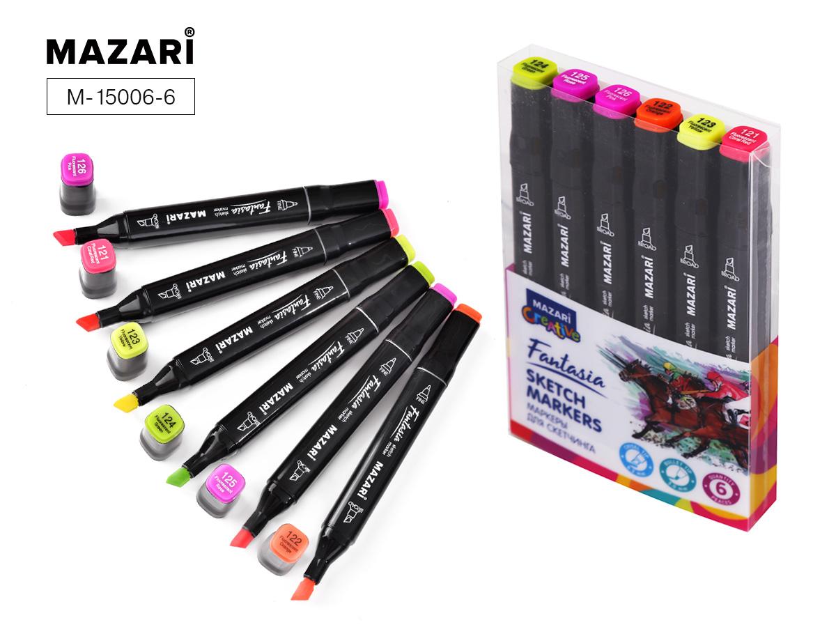 Маркеры д/скетчинга Fantasia  6цв. 3-6,2мм флуорисцентные цвета