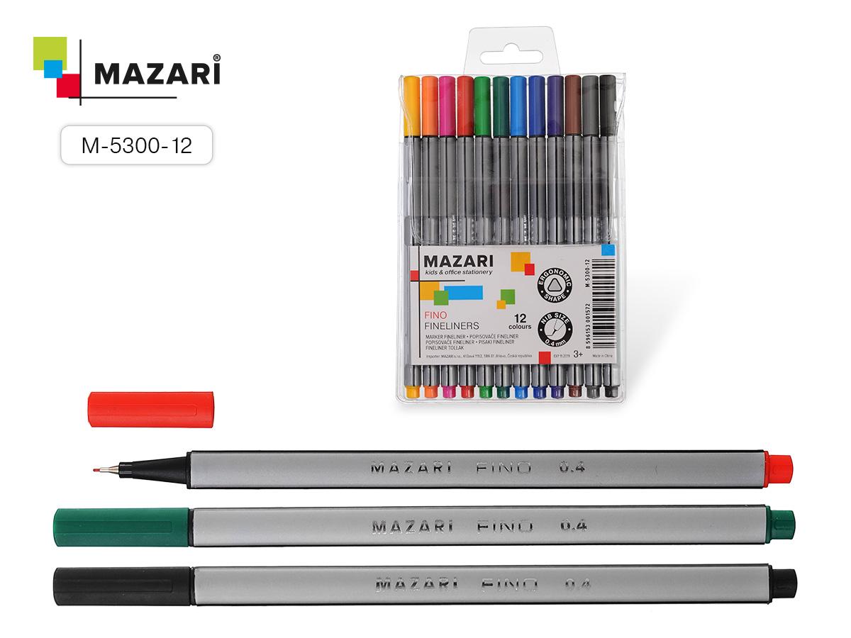 Линеры набор Mazari FINO 12цв. 0.4мм трехгранный корп.