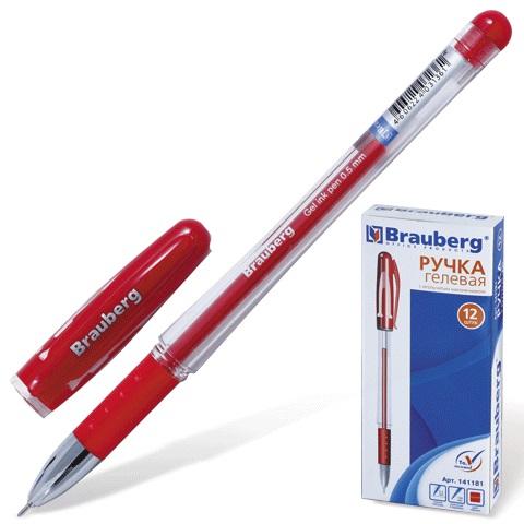 Ручка гел. Brauberg 0,5 игол.нак. рез.держ. красная