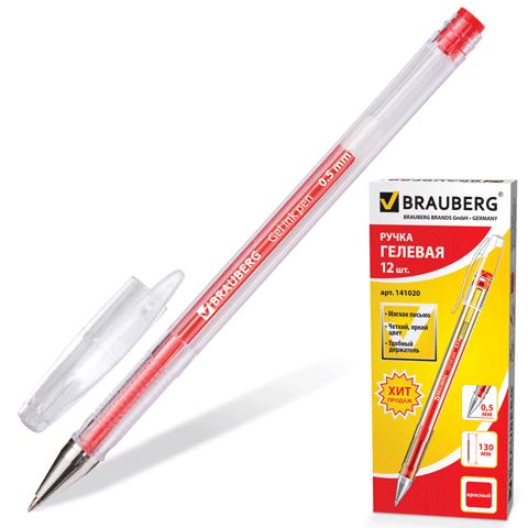 Ручка гел. Brauberg Zero 0,5 корп.прозр. красная