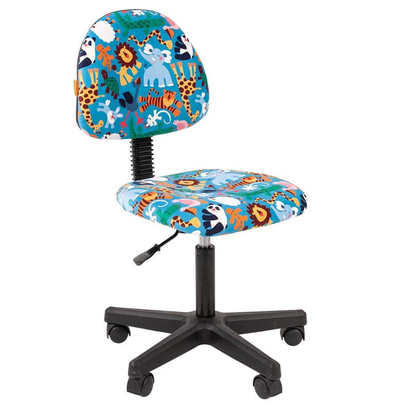 Кресло детское Chairman Kids 104 PL черный, велюр Зоопарк б/подлок.