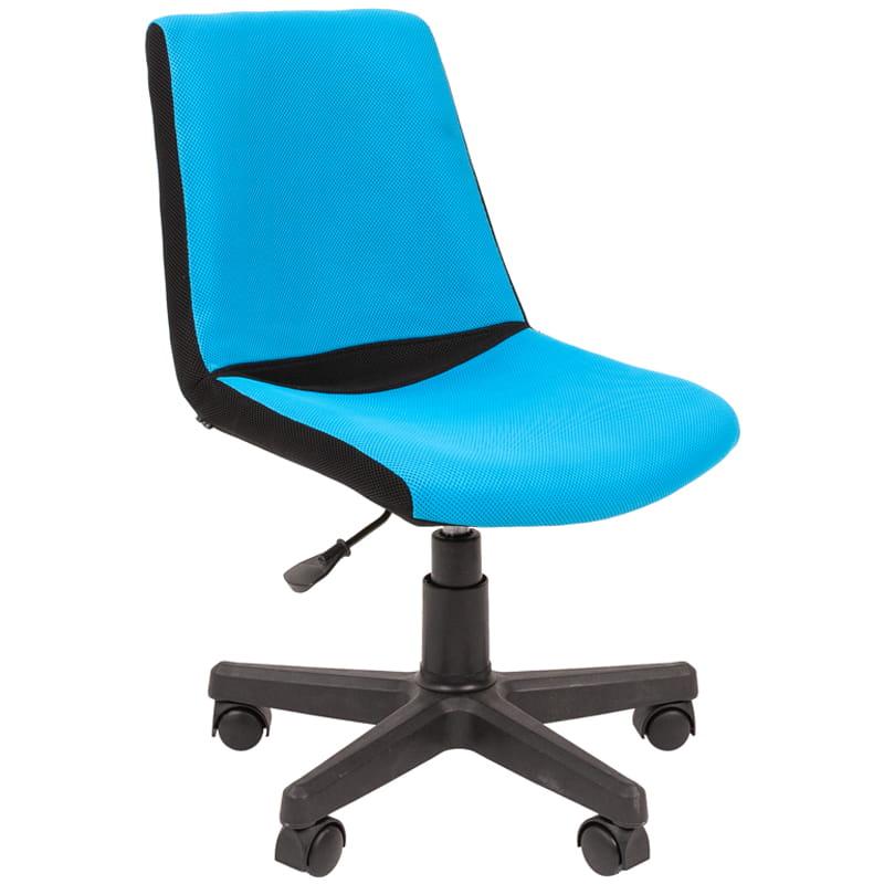 Кресло детское Chairman Kids 115 PL черный, ткань TW черная/голубая