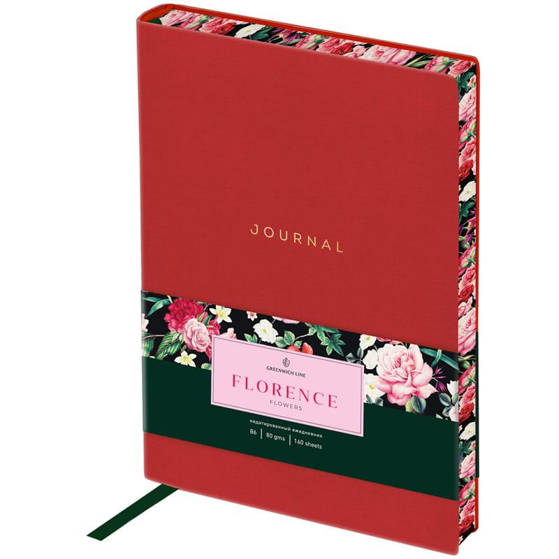 """Ежедневник недат. В6 Greenwich Line к/зам """"Florence Flowers"""" красный цв.срез"""
