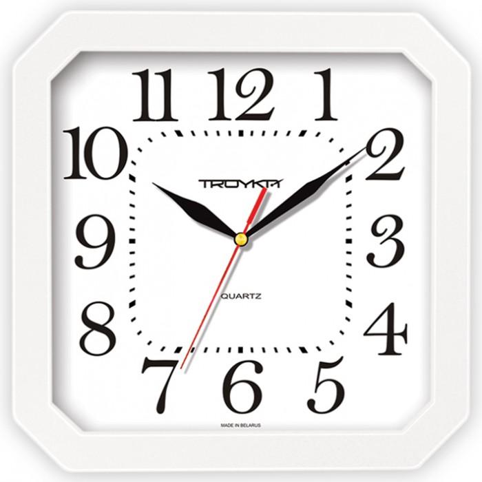 Часы настен. Troyka квадратные белая рамка 29см