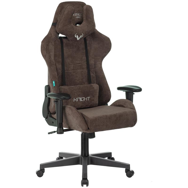 Кресло игровое Zombie VIKING KNIGHT ткань коричневая